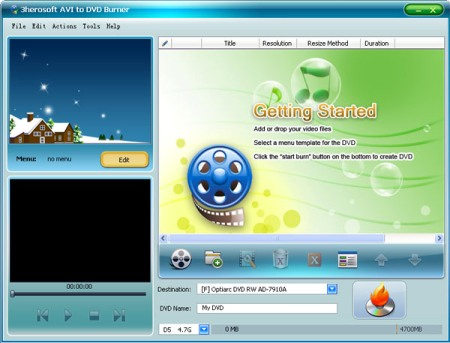 3herosoft AVI to DVD Burner