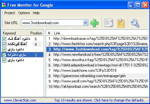 آنالیزور کلمات کلیدی - Free Monitor for Google